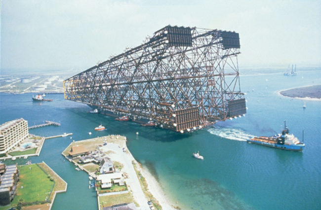 Not only is the structure itself baffling, but look at the size of the boat pulling it in comparison! Crazy.