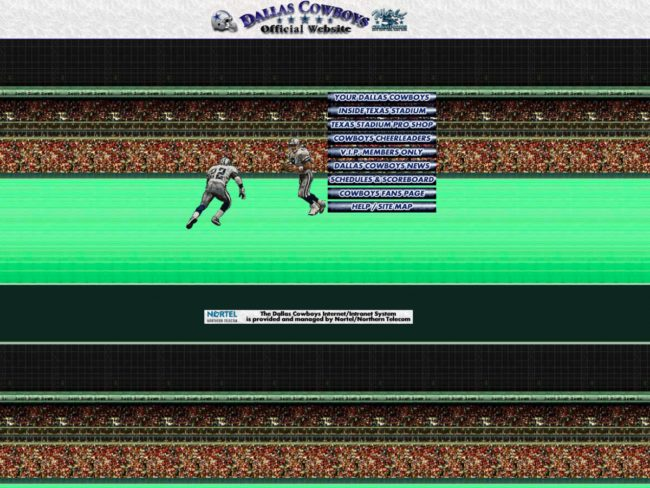 The Dallas Cowboys website looked more like an old-fashioned video game.