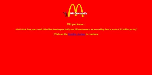 Ah, McDonald's. Remember when your site looked like an error page?