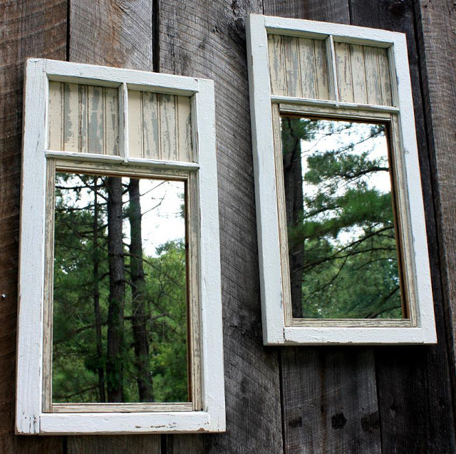 Mirrors not only make your backyard seem bigger, they're also a beautiful touch.