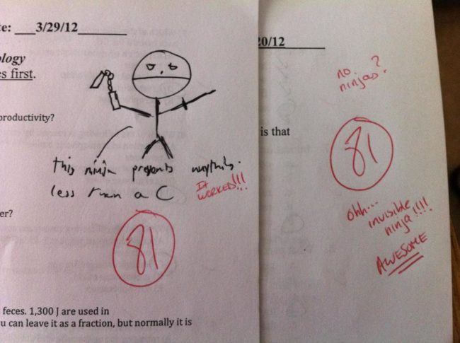 At least this teacher plays along.
