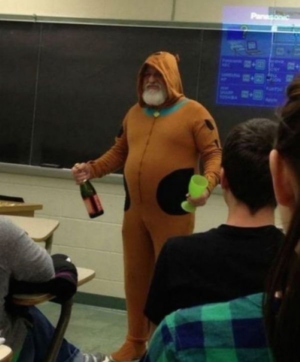 He told his students that if there were five A's in his class, he'd dress like Scooby Doo. He's a man of his word.