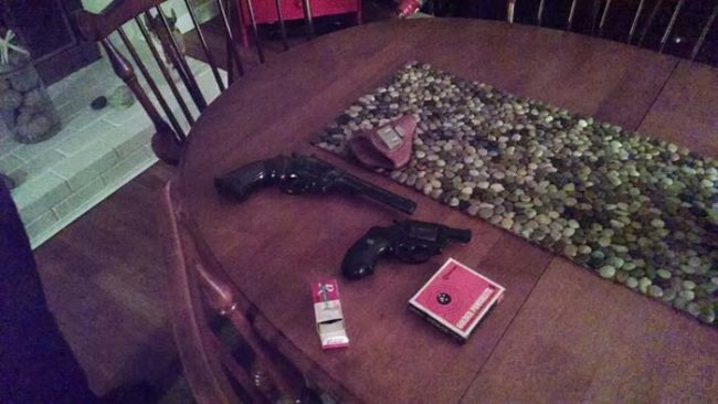 An electrician found these firearms in one guy's attic. He says he'd been living at the house since 2008. Talk about freaky.