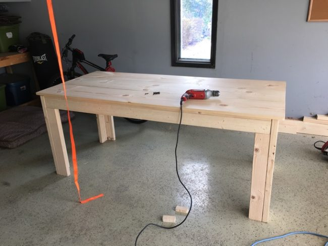 He started by building a relatively simple pine wood table.