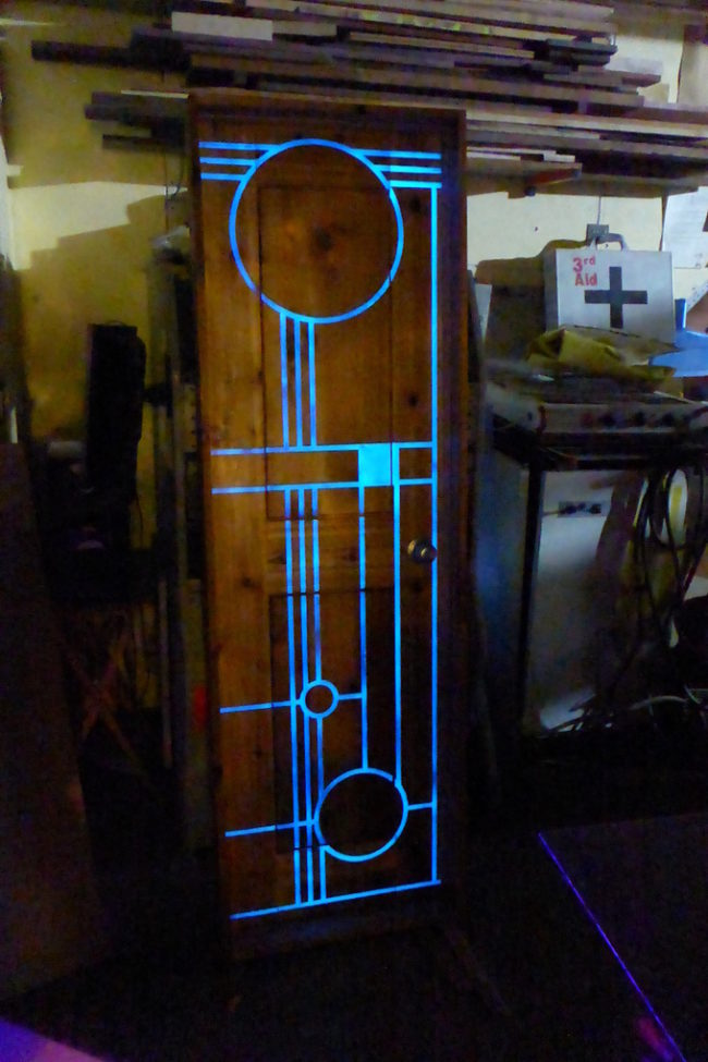"Now for the projects! Make your door glow in the dark <a href=""http://imgur.com/gallery/fFBDk"" target=""_blank"">with this DIY</a>."