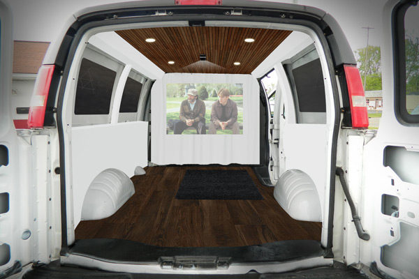 Before he got started, he mocked up what he hoped the van would ultimately look like inside. Not too shabby!