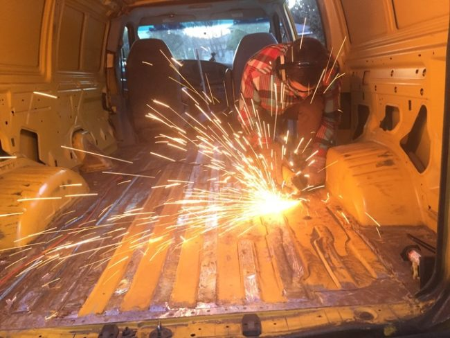 To take care of all that rust, he used an angle grinder.