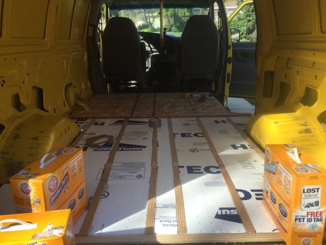 This was just the first round of insulation to be added to the van.