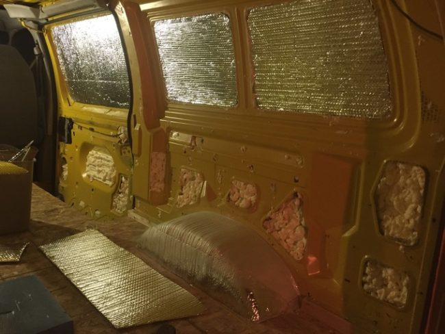 Then it was time for more insulation -- even in the summer, cold nights can be brutal.