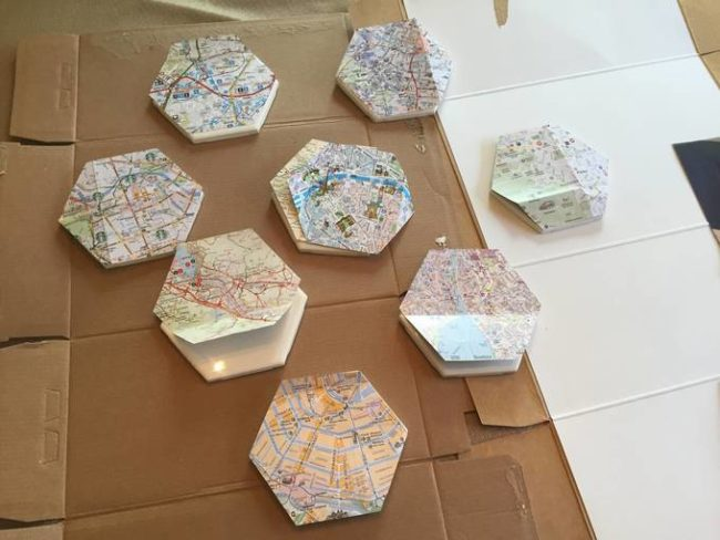 To adhere the cutouts to the tiles, a little Mod Podge was all that was needed.