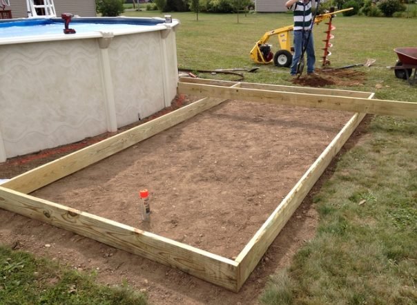 After clearing some space next to his pool, the builder created a temporary frame.