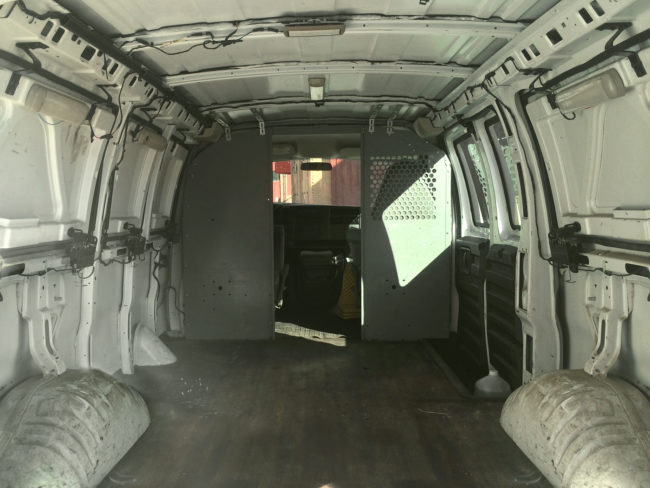 Here's what he had to work with...a 2003 Chevy van with more than 200,000 miles on it.