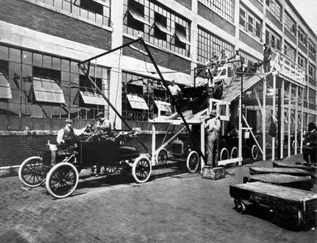 This unconventional assembly line at the Ford Motor Company in Michigan is producing a Model T