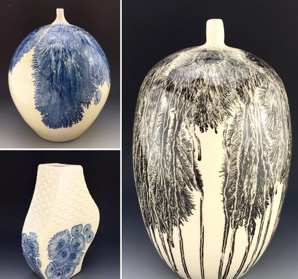 For these larger pieces, he switched things up by dripping cobalt and black pigments downward instead of doing it from the bottom up.