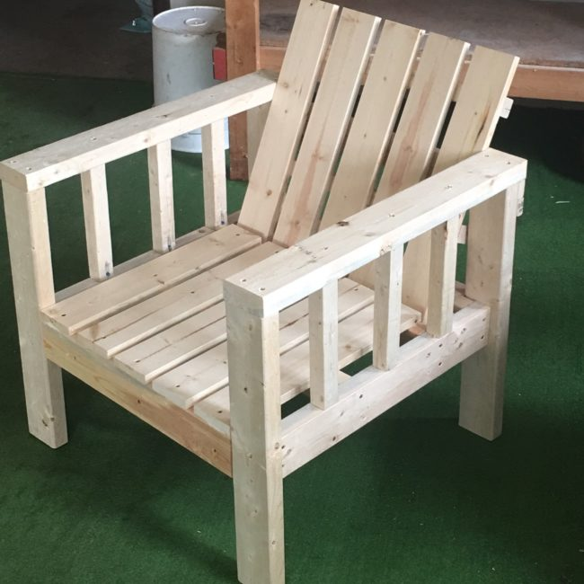 "Just add paint or finish for a beautiful <a target=""_blank"" href=""http://www.ana-white.com/2016/04/DIY_furniture/my-simple-outdoor-lounge-chair-2x4-modification"">outdoor lounge chair</a>!"