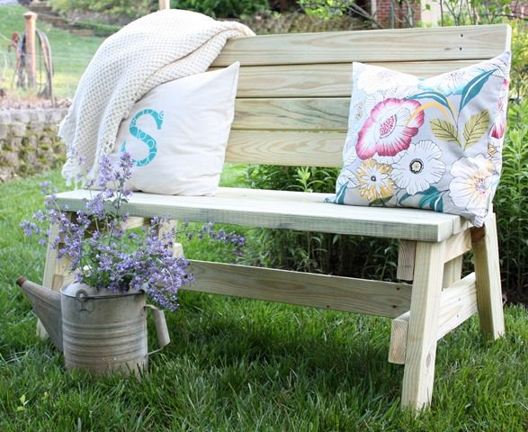 "Style up your yard or porch with this <a target=""_blank"" href=""http://www.virginiasweetpea.com/2016/05/diy-2x4-bench.html"">bench</a>."