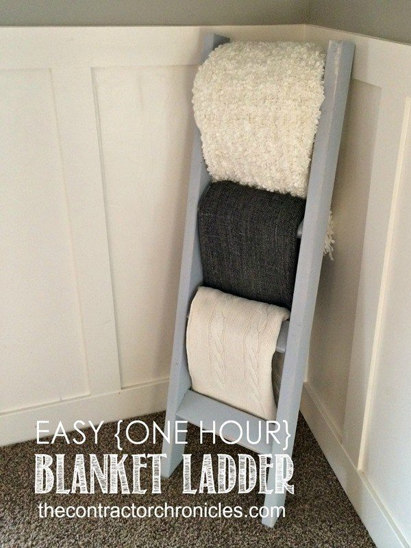 "Don't toss your blankets into a boring old container, hang them on this awesome <a target=""_blank"" href=""http://thecontractorchronicles.com/2014/06/16/easy-one-hour-blanket-ladder/"">ladder</a>!"