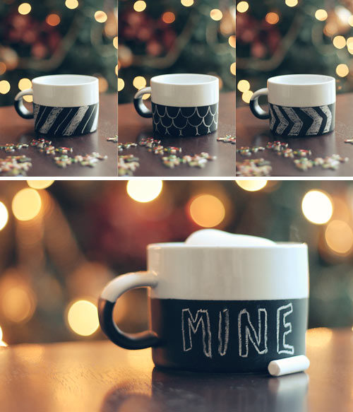 "Personalize your <a target=""_blank"" href=""http://witandwhistle.com/2011/12/14/diy-chalkboard-mug/"">mug</a>!"