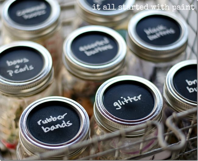 "These <a target=""_blank"" href=""http://www.itallstartedwithpaint.com/mason-jar-craft-storage/"">mason jars</a> will help keep your crafting drawer clutter free."