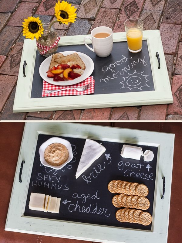 "This <a target=""_blank"" href=""http://www.soyouthinkyourecrafty.com/chalkboard-serving-tray-tutorial/"">serving tray</a> is a great way to sweeten breakfast in bed or label the food you're serving."