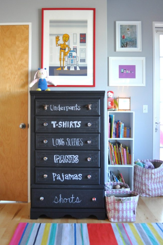 "This <a target=""_blank"" href=""http://www.apartmenttherapy.com/reid-ivys-happy-balance-shared-room-my-room-213864"">dresser</a> will help your kids get ready so much faster!"