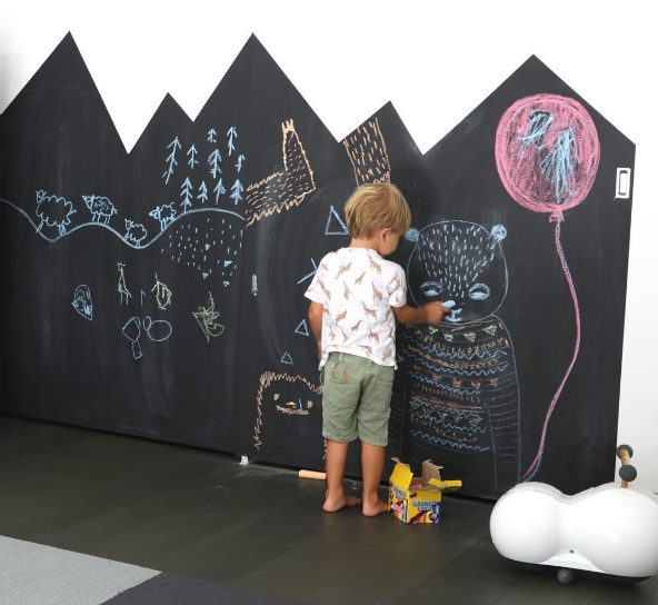 "Now your little ones can color all over the <a target=""_blank"" href=""http://www.nestofposies-blog.com/2010/03/so-my-walls-can-talk-part-1-chalkboard/"">walls</a> without any timeouts."