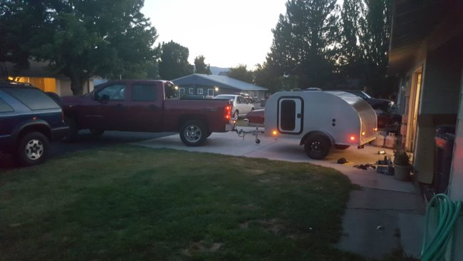 With his new camper finally completed, he couldn't resist hooking it up to his truck for a test drive.