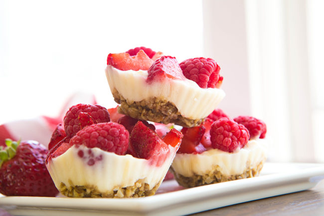 """Bust out these <a href=""""http://skinnyms.com/froyo-berry-bites-recipe/?utm_content=bufferda6f7&utm_medium=social&utm_source=pinterest.com&utm_campaign=buffer"""" target=""""_blank"""">froyo berry bites</a> when you need to impress guests with something that looks elegant and complicated, but is actually pretty simple."""