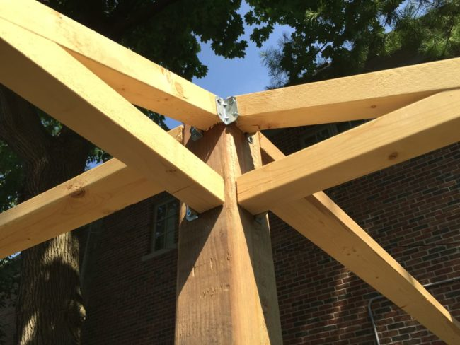Brackets and screws keep the roof beams anchored to the support beams. This thing isn't going anywhere.