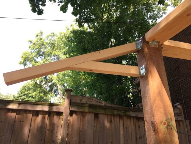 Then the awning support goes up, which is also attached with brackets and screws.