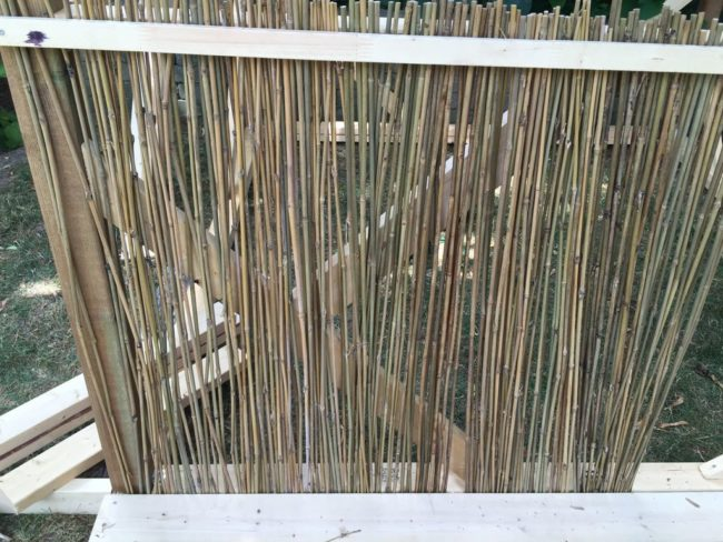 Time for the bamboo. Don't worry, it's special bamboo fencing. No need to add each piece separately.