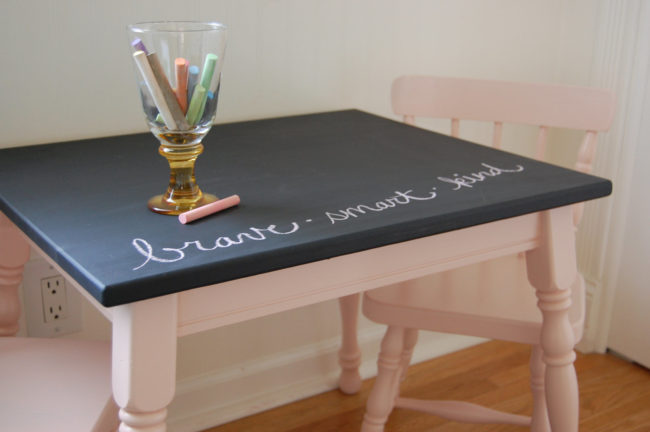 "Let your kids' creativity shine with this cute <a target=""_blank"" href=""http://scoutvintagecollective.com/2012/01/02/from-average-to-amazing-i-call-a-do-over/"">craft table</a>."