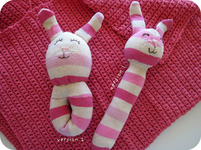 "Cute <a href=""http://homemadebyjill.blogspot.ru/2010/05/sock-animal-rattle-tutorial.html"" target=""_blank"">bunny rattles</a> are sure to cheer up any baby."