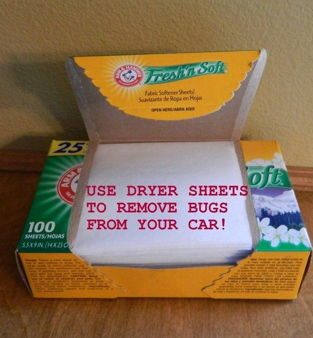 Have bugs stuck in the grill of your truck? Use dryer sheets for quick and easy insect removal.
