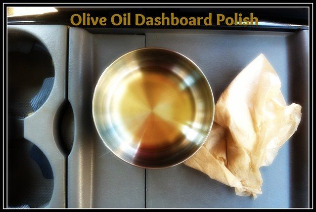 "Make your dashboard shine with this simple DIY <a href=""http://mommyfootprint.com/how-to-clean-your-vehicle-without-chemicals/"" target=""_blank"">dashboard polish</a>."