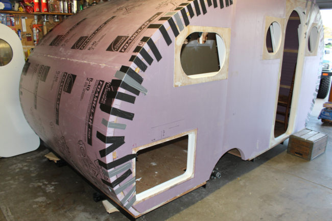 After that, he glued the roof to the camper and used tape for extra protection.