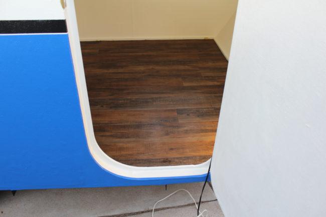 Vinyl flooring was installed inside.