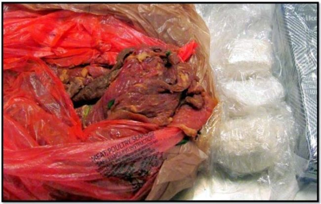 Even though everything on TV and in movies says you can't smuggle drugs onto a plane, that doesn't stop everyone. These guys tried to smuggle cocaine aboard by hiding it in some raw meat.
