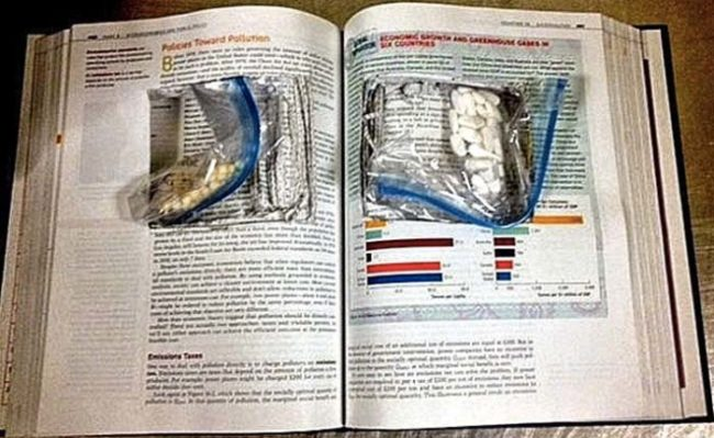 Hollowing out school books isn't a very effective drug smuggling method.