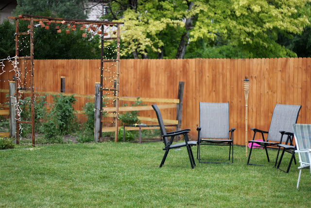 """Build yourself this simple <a href=""""http://kojo-designs.com/2011/08/make-it-rustic-garden-gate/"""" target=""""_blank"""">pergola</a>."""