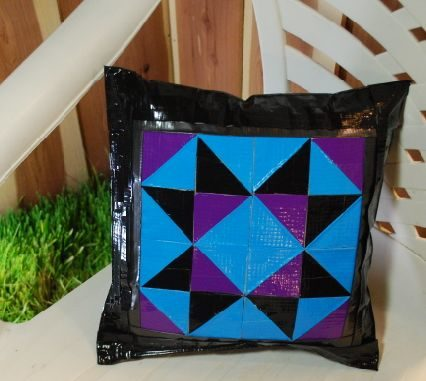 """<a href=""""http://www.instructables.com/id/Quilty-Duct-Tape-PatioLawn-Pillow/"""" target=""""_blank"""">Duct tape lawn pillows</a> are water resistant AND pretty!"""