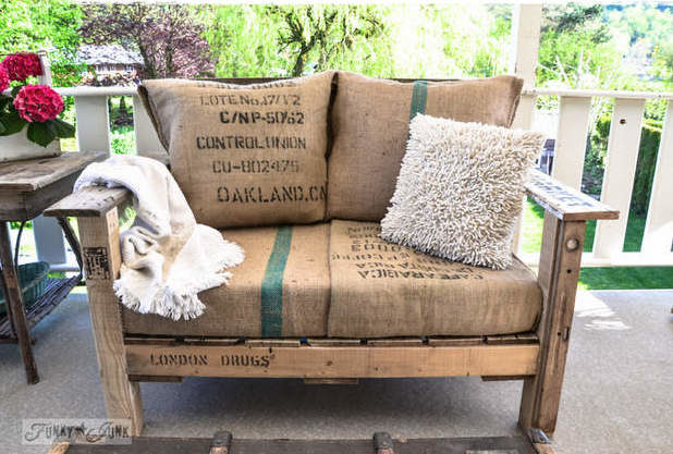 """Add a rustic touch with this incredible <a href=""""http://www.funkyjunkinteriors.net/2013/05/a-cool-pallet-wood-chair-anyone-can-make-part-1.html"""" target=""""_blank"""">pallet chair</a>."""