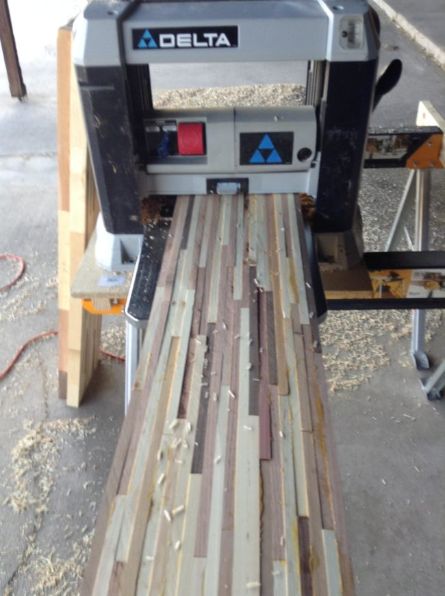Nobody wants an uneven tabletop, so he ran each section through the planer.
