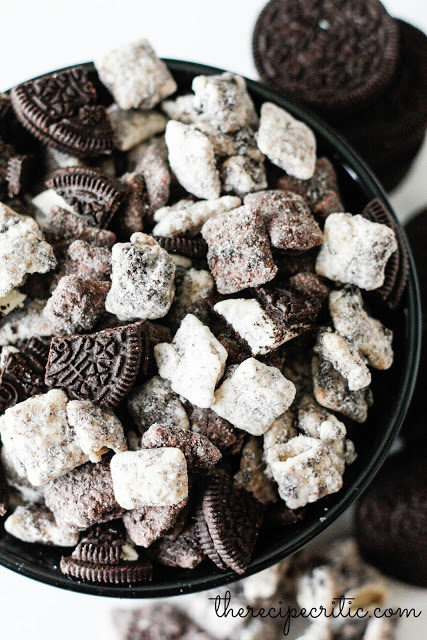 "Muddy buddies are good, but by <a href=""http://mandysrecipeboxblog.com/cookies-n-cream-muddy-buddies-guest/"" target=""_blank"">adding Oreos</a>, the snack is WAY better."