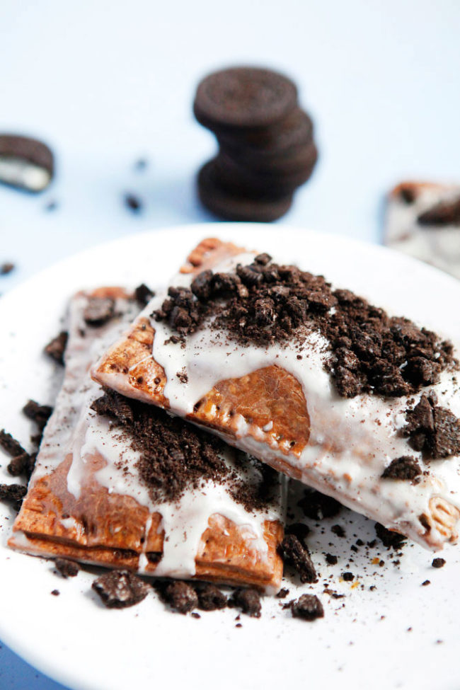 "This at-home take on <a href=""http://www.freckleandfair.com/blog-posts/2016/5/15/cookies-and-cream-homemade-oreo-pop-tarts"" target=""_blank"">Pop-Tarts</a> is sure to make breakfast that much better!"