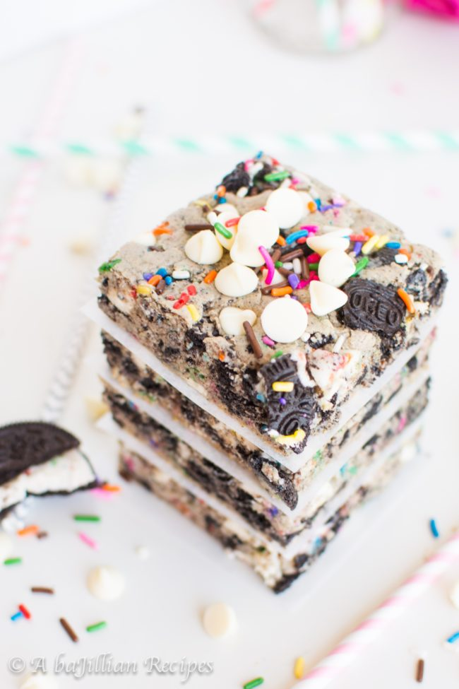 "<a href=""http://www.abajillianrecipes.com/2016/07/05/funfetti-cookies-n-creme-blondies/"" target=""_blank"">This recipe</a> combines my three favorite things: funfetti, Oreos, and blondies."