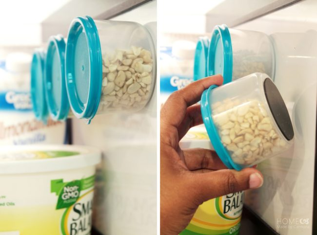 "Free up your counter space by <a target=""_blank"" href=""http://tatertotsandjello.com/2014/08/how-to-make-custom-diy-magnetic-tins.html"">attaching magnets</a> to the bottom of containers and slapping them on your fridge."