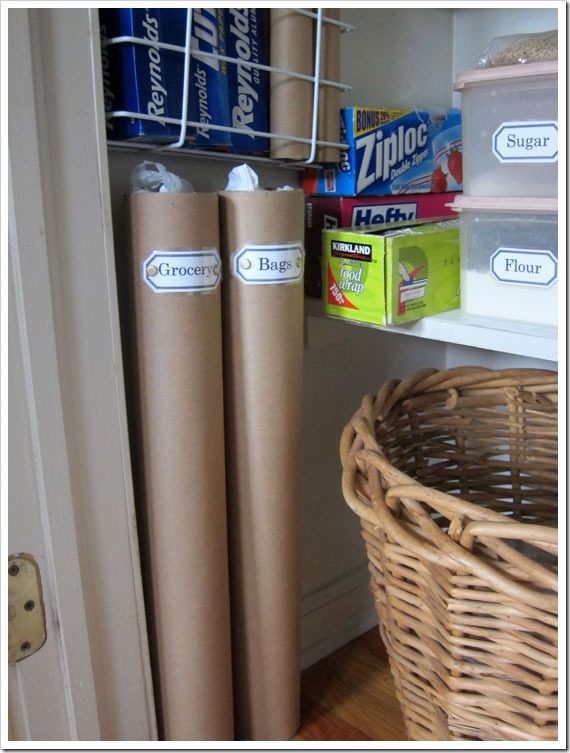 "Use <a target=""_blank"" href=""http://inmyownstyle.com/2011/09/how-i-transformed-a-coat-closet-into-a-panty.html"">large cardboard tubes</a> to store all of your plastic bags!"