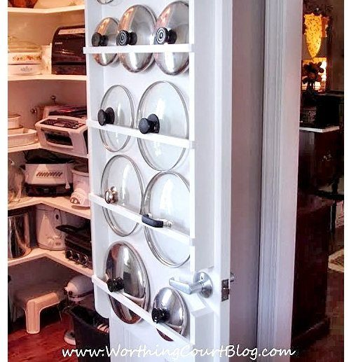 "Make your pot lids easy to grab by <a target=""_blank"" href=""http://www.worthingcourtblog.com/lindas-kitchen/"">hanging them</a> inside your pantry!"