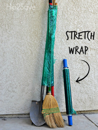 "Save space by using <a target=""_blank"" href=""http://hip2save.com/2014/06/17/12-packing-moving-tips-pack-your-home-like-a-pro/"">stretch wrap</a> to keep all your garden tools together."